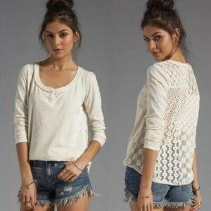 [Free People] Cream Crocheted Long Sleeve